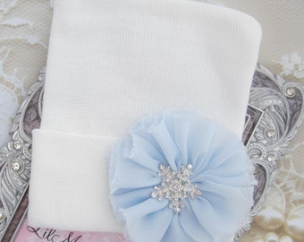 Newborn Hospital Hat, White with a blue petal flower and a snowflake, Frozen baby hat, baby gift, new baby, from Lil Miss Sweet Pea Boutique