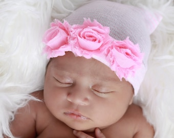 Newborn Hospital Hat, Pink & White Stripe with Shabby Roses, baby hat, take home hat, hospital, hat by Lil Miss Sweet Pea Boutique