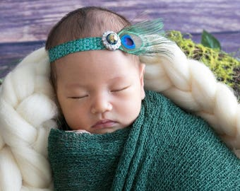Peacock Feather Headband Photo Prop for Newborn Photo Shoots, delicate peacock feather, by Lil Miss Sweet Pea