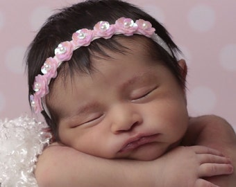 Mini Pink Flower Sequin Halo Headband, sequin flowers, baby pink, photo prop, by Lil MIss Sweet Pea Boutique