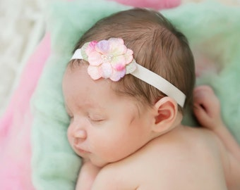Velvet Beaded Flower Headband for photo shoots, shades of girly pink and lavender, with a beaded center Lil Miss Sweet Pea