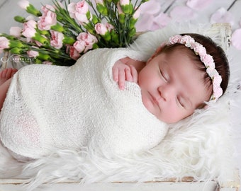 White Newborn Baby Swaddle Wrap AND/OR Baby Pink or Antique Mauve Flower Halo Headband for newborn photos, baby halo, Lil Miss Sweet Pea