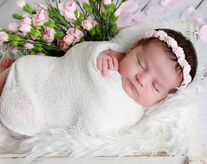 Featured listing image: White Newborn Baby Swaddle Wrap AND/OR Baby Pink Flower Halo Headband for newborn photos, baby halo, bebe bandeau foto, Lil Miss Sweet Pea