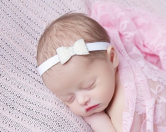 Pink stretch lace swaddle wrap AND/OR rhinestone pearl bow headband, photographer, by Lil Miss Sweet Pea