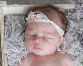 Sari Silk Tie Back with Mulberry Roses for a newborn photo shoot, bebe fotografia, baby headband by Lil Miss Sweet Pea