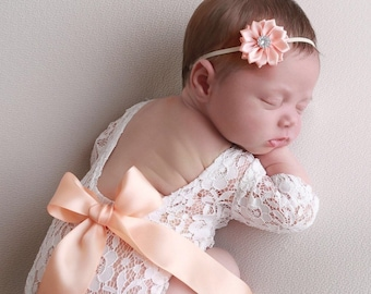 CHOOSE ribbon color (10 colors) for this Newborn Lace Romper AND/OR flower headband, photoshoot, unlined, bebe foto, by Lil Miss Sweet Pea