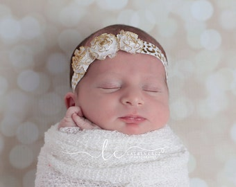 Gold and White Organza Flower Headband for newborns to adults - perfect for photoshoots by Lil Miss Sweet Pea