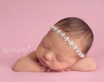 White Pearls and Rhinestones headband with elastic on the back, newborn photo, photo shoots,  Christening, Baptism by Lil Miss Sweet Pea