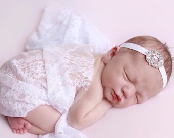 White Stretch Lace Swaddle Wrap AND/OR Pink or Purple Rhinestone Headband, newborn photo shoots, baby swaddle, lace wrap, Lil Miss Sweet Pea