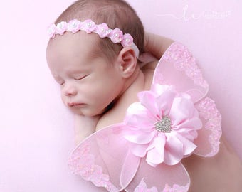 Newborn Pink heart baby butterfly mesh wings AND/OR sequin halo headband for newborn photo prop, newborn photographer, Lil Miss Sweet Pea