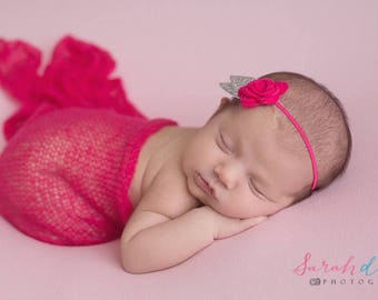 Hot pink stretch wrap AND/OR matching pink felt floral headband with gold leaf trim for newborn photo shoots, hairband, bebe, Lil Miss Sweet