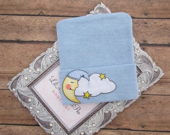BOYS Newborn Hospital Hat with Moon and Clouds, infant beenie, hospital take home hat, new baby beenie by Lil Miss Sweet Pea