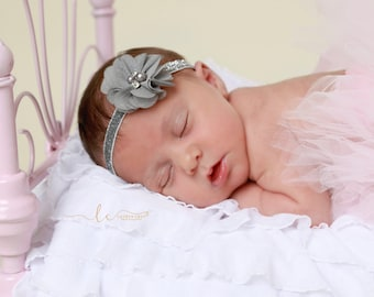 Gray Flower on Silver Glitter Elastic Headband for newborn photo shoots, baby headband, all ages, bebe, foto, by Lil Miss Sweet Pea
