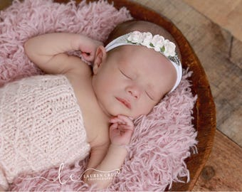 Pink Roses and Silver Leaves on a stretch knit hairband, newborn, paper flower halo by Lil Miss Sweet Pea