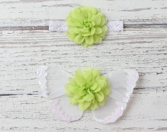 Lime green butterfly wing set for newborn photos, photo prop, newborn photographers, new baby, baby girl, baby wings, Lil Miss Sweet Pea