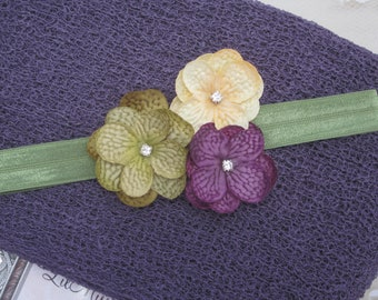 Plum Knit Wrap AND/OR Matching Hydrangea Flower Headband, fall colors, photo shoots, newborn swaddle wrap, bebe foto, Lil Miss Sweet Pea