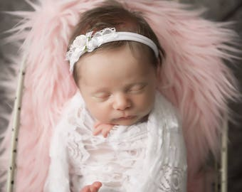 White stretch lace swaddle and knit headband with lace, ribbon and a mulberry paper rose, bebe, newborn photos, by Lil Miss Sweet Pea