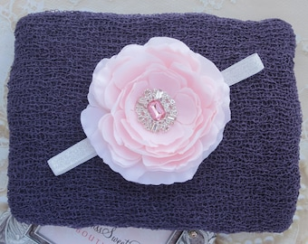 Plum Knit Wrap AND/OR Matching 4 inch Flower Headband, photo shoots, newborn swaddle wrap, bebe foto, Lil Miss Sweet Pea