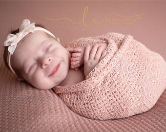 Textured Blush Knit Swaddle Wrap, AND/or Coordinating Posing Fabric AND/or Silk Bow Headband, Lil Miss Sweet Pea