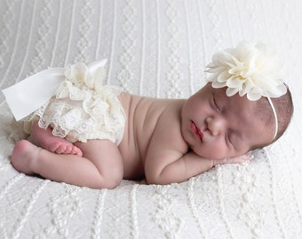 "Newborn Ivory Lace Diaper Cover / Bloomer AND/OR Chiffon  4"" Flower Headband, bebe foto, Newborn Photographer, Lil Miss Sweet Pea"