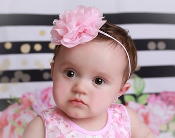 "3"" Chiffon and Lace Petal Blossom Headband, 10 colors to choose from by Lil Miss Sweet Pea Boutique, photo prop, newborn, baby girl headband"