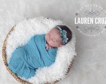 Turquoise Stretch knit wrap AND/OR double hydrangea headband set, swaddle, by Lil MissSweet Pea