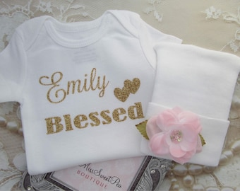 Girl's Personalized Bodysuit and a Hospital Hat, take home outfit, blessed, custom, bebe, Lil Miss Sweet Pea