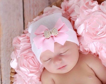 White Newborn Hospital Hat with a Pink Grosgrain Bow Adorned with a Pearl Bow Button, baby hat, Lil Miss Sweet Pea Boutique