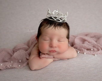 Muslin swaddle with pearls AND/OR silver rhinestone crown, newborn photography, princess, Lil Miss Sweet Pea