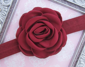 Pretty 2.25 inch dark red cranberry satin rose flower on soft stretch elastic, for a newborn, photo shoots or everyday, Lil Miss Sweet Pea