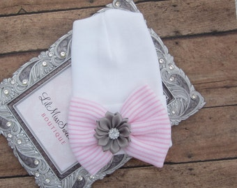 NEW fitted top newborn hospital hat, pink stripe bow with grey flower, latex free, take home outfit, baby beenie, by Lil Miss Sweet Pea