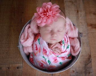 Newborn pink and white floral knit baby swaddle for photos AND/OR flower headband, bebe bandeau, Lil Miss Sweet Pea
