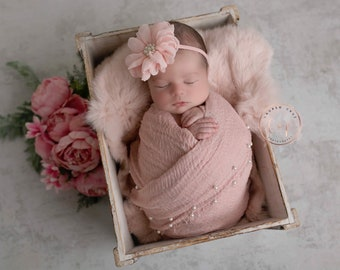 Dusty Rose Muslin Pearl Swaddle Wrap AND/OR matching 3.75 inch chiffon floral headband, swaddle set, bebe foto, baby wrap Lil Miss Sweet Pea