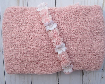 Pastel Pink Newborn Baby Swaddle Wrap AND/OR Pink Flower Halo Headband for newborn photo shoots, baby halo, pink wrap by Lil Miss Sweet Pea