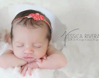 Coral Ribbon flower headband on skinny elastic for newborn photo shoots, bebe foto, infant by Lil Miss Sweet Pea