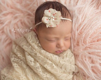 "Dark Ivory Stretch Lace Swaddle Wrap AND/OR 2"" Ivory Rosebud Print Flower Headband, by Lil Miss Sweet Pea"