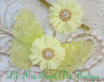 Baby Wing set , Gold and Yellow, photo prop, newborn photographers, purchase wings only, headband only or as a set