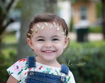 Gold Laurel Leaf Vine Crown - Greek Inspired perfect for toddler photo shoots and more, gold leaf halo, by Lil Miss Sweet Pea