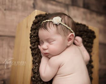 Gold & White Headband with a white organza flower, newborn photo, infant hairband, newborn headband, bandeau bebe, handmade, by Sweet Pea