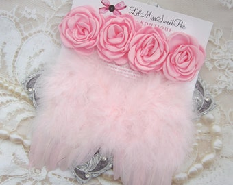 Pink Feather Angel Wings AND/OR Satin Rose Halo for newborn photo shoots, these flowers measure 2 inches each, by Lil Miss Sweet Pea