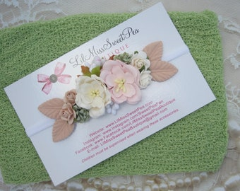 Celery Swaddle AND/OR Couture Pink & Cream Mulberry Flower Headband, bandeau, newborn photoshoot, photographer headband, Lil Miss Sweet Pea