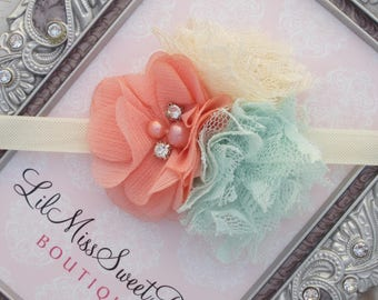 Peach, Mint and Ivory Cluster Flower Headband on ivory elastic, photo prop, everyday wear, newborn photographers, by Lil Miss Sweet Pea