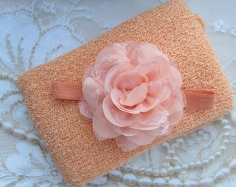 Peach Knit Wrap AND/OR Matching Peach Chiffon and Lace Flower Headband, photo shoots, newborn swaddle wrap, bebe foto, Lil Miss Sweet Pea