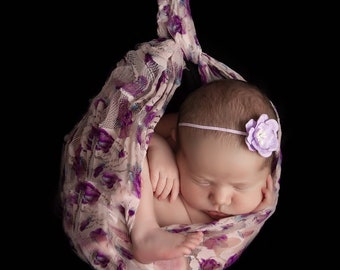 Photographer Printed Lace Swaddle Wrap AND / OR purple flower headband, Lil Miss Sweet Pea