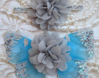 Turquoise and Gray Glitter Baby Butterfly Wings AND/OR Headband - newborn photos, photo prop, newborn photographers by Lil Miss Sweet Pea