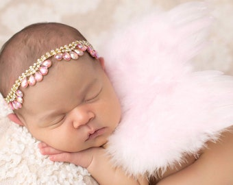 Pink Feather Angel Wings AND/OR Teardrop Halo for newborn photo,by Lil Miss Sweet Pea