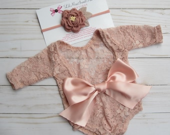 Dusty Rose Newborn Lace Romper Outfit, Stretch lace, unlined, AND/OR matching floral headband, newborn set, bebe foto, Lil Miss Sweet Pea