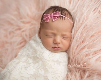 Off White stretch lace swaddle wrap AND / OR pink sequin bow headband, bebe foto, baby swaddle, by Lil Miss Sweet Pea