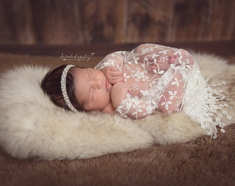 White Fringe Lace Newborn Baby Wrap AND/OR Pearl Hand Beaded Headband, newborns, foto, photo shoots, bebe, infant hair, Lil Miss Sweet Pea