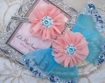Turquoise, Pink and Silver Glitter Baby Wings, headband or wings only or a set - for newborn photos, photo prop, newborn photographers